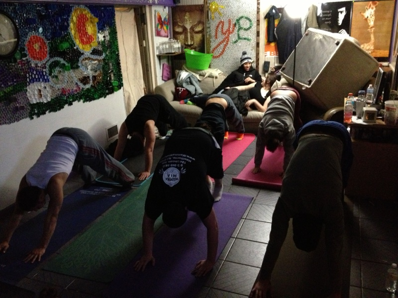 youth doing yoga